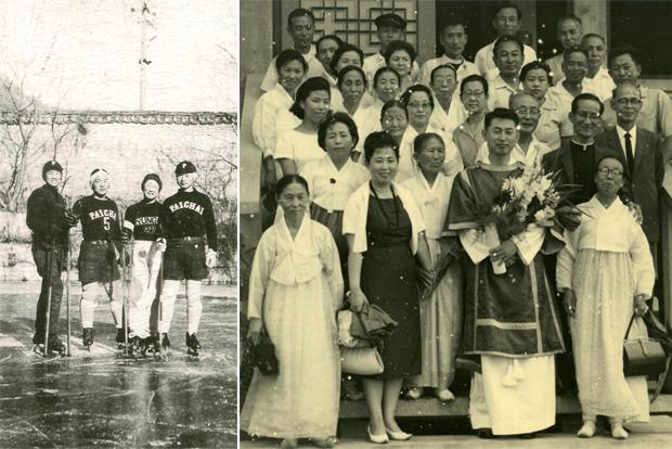 배재학당 아이스하키 선수였던 청년 시절(왼쪽), 성공회 사제 서품을 받는 김성수 명예이사장(오른쪽)