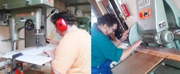 소리에 민감한 장애인 위해 헤드셋 지원 및 기계에 일정 조형틀을 배치하여 커팅 오류 방지(오른쪽), 손이 톱날 근처로 가면 작동을 멈추는 기계로 길이와 치수도 표시되어 있음(왼쪽)