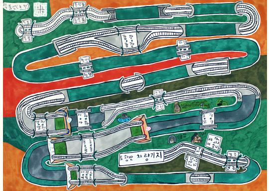 ▲ '식품선 식품-경주' 종이 위에 마카, 색연필. 2013년작 (이미지 제공 : 로사이드)