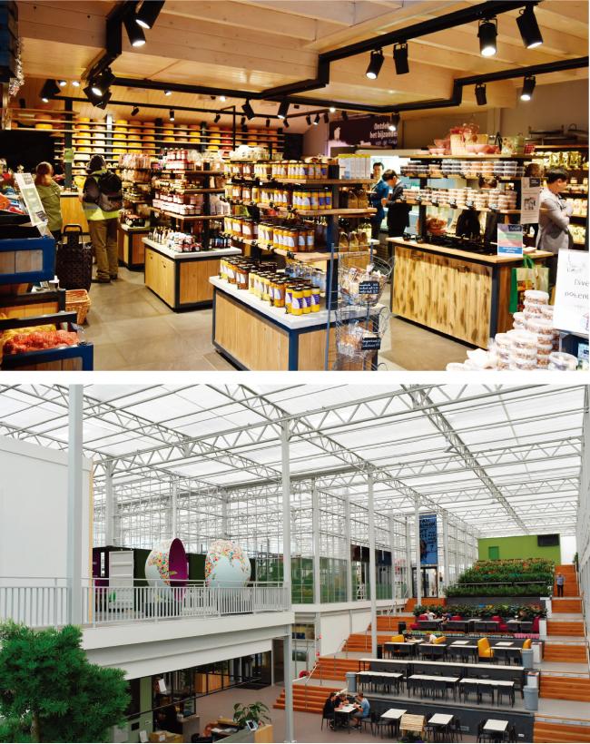 푸르메에코팜 내부에는 수확 작물을 판매하는 상점(위쪽)과 발달장애인을 위한 휴식공간이 마련될 예정이다. 사진은 네덜란드 스마트팜 내부 모습.