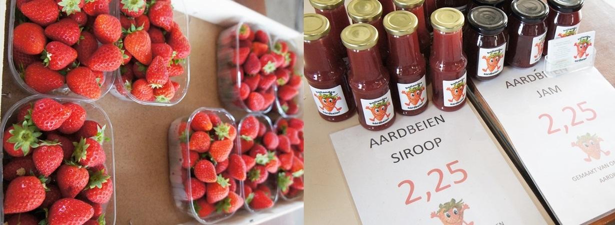수확한 딸기(왼쪽)와 수확물로 가공한 잼을 판매하는 모습.