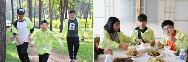 사진6> 어색함도 잠시 절친한 사이가 된 참가자들(왼쪽), 힘겨운 등정을 마친 뒤 점심식사를 하는 참가자들(오른쪽)