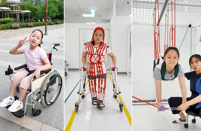 휠체어에 앉아 있는 진아 양(좌/오진아 가족 제공), 테라슈트(가운데)와 UEU(우)를 이용해 집중운동치료하는 모습(김예은 물리치료사 제공)