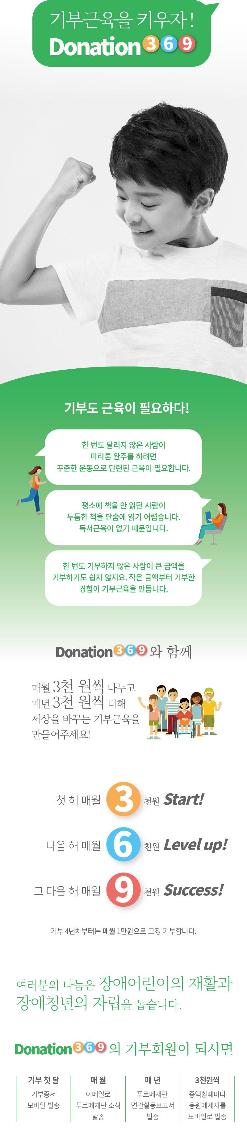 매월 3천원 소액 정기기부 캠페인 '도네이션369'