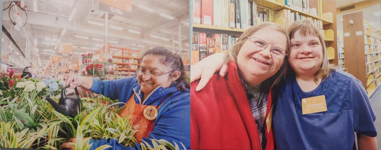 호프 서비스에서 교육을 받은 뒤 동네 슈퍼마켓에서 일하거나 도서관에서 자원봉사를 하고 있는 장애인 모습