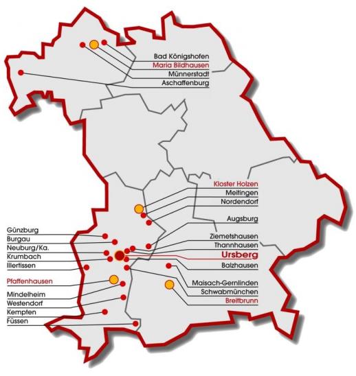 ▲ 독일 내 도미니쿠스 링아이젠 시설 위치도. 동남부의 마이작 게른린덴 지역에 위치한 곳이 도미니쿠스 링아이젠 마이작.
