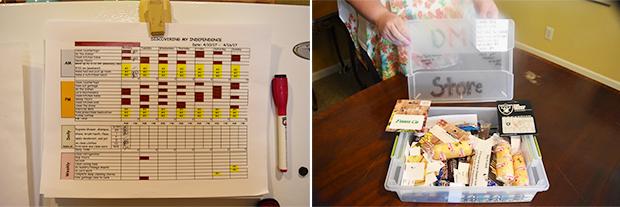거주인 스스로 계획한 집안일 분담표(왼쪽), 긍정적 행동 강화를 위한 쿠폰함(오른쪽)