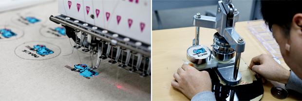 장애인의 그림을 자수로 표현하는 컴퓨터 자수기계, 자석버튼을 만드는 모습