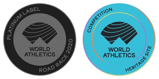 세계육상연맹(World Athletics)이 선정하는 '플래티넘 라벨' 대회 로고(왼쪽 사진)와 세계육상 문화유산 로고. 서울국제마라톤은 두 부문 모두에 이름을 올렸다.
